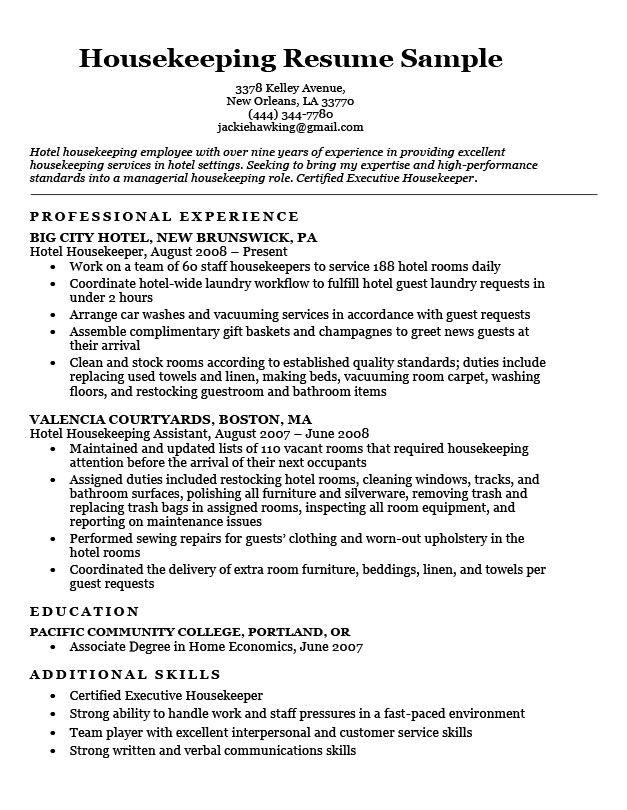 Resume Examples Housekeeping Resume examples, Resume