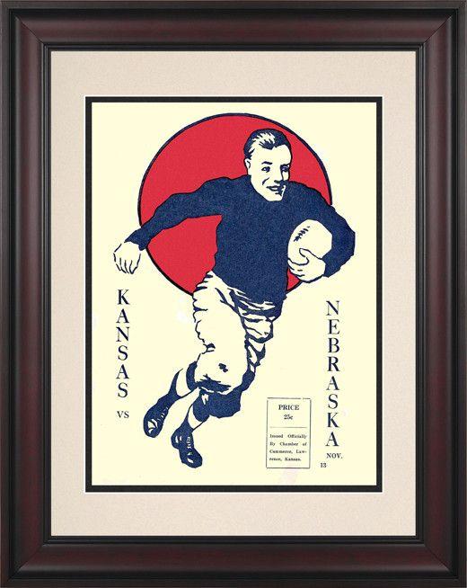 1920 Kansas Jayhawks vs Nebraska Cornhuskers 10 1/2 x 14 Framed Historic Football Poster