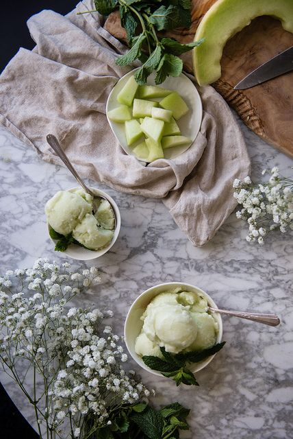 Jasmine Honeydew Melon Sorbet by Two Red Bowls