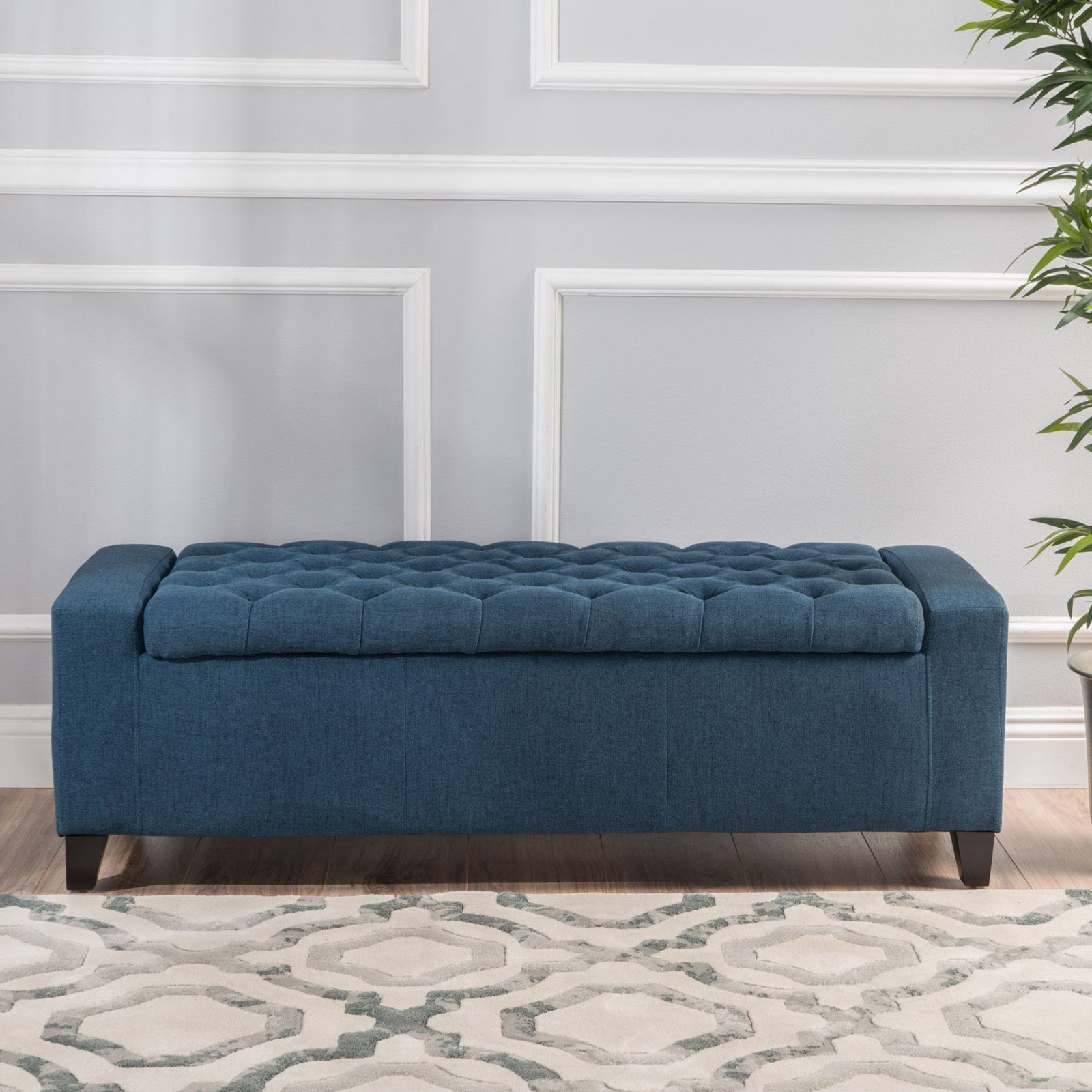 Outstanding Clarke Fabric Storage Indoor Bench Dark Blue Products In Caraccident5 Cool Chair Designs And Ideas Caraccident5Info