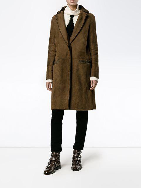 Yves Salomon manteau en mouton retourné