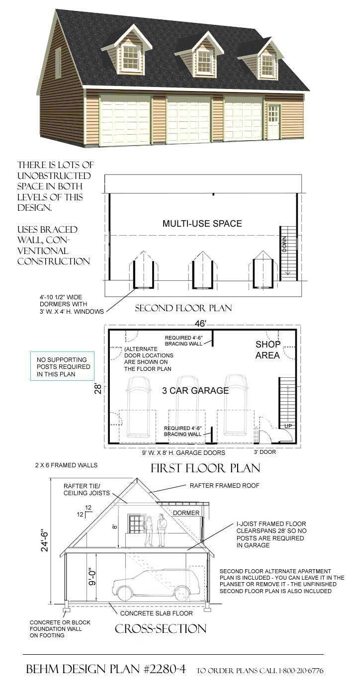 Garage With Loft Plan 2280 4 By Behm Design Garage Plans Garage Plans With Loft Garage Building Plans