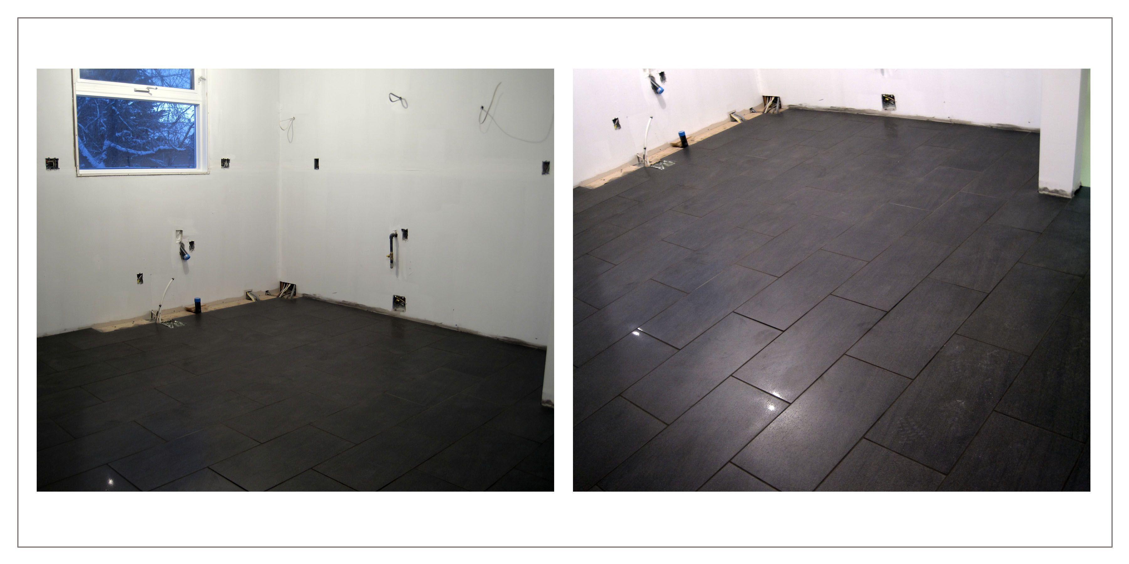 Dark rectangular 12 x 24 floor tile
