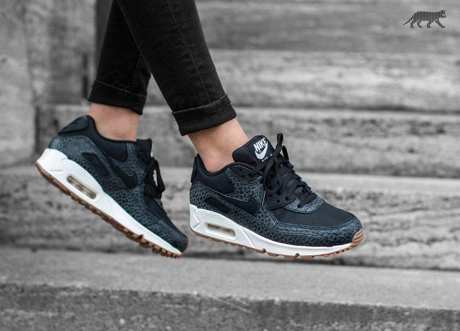 Nike Wmns Air Max 90 PRM (Black / Black - Sail - Gum Medium Brown ...