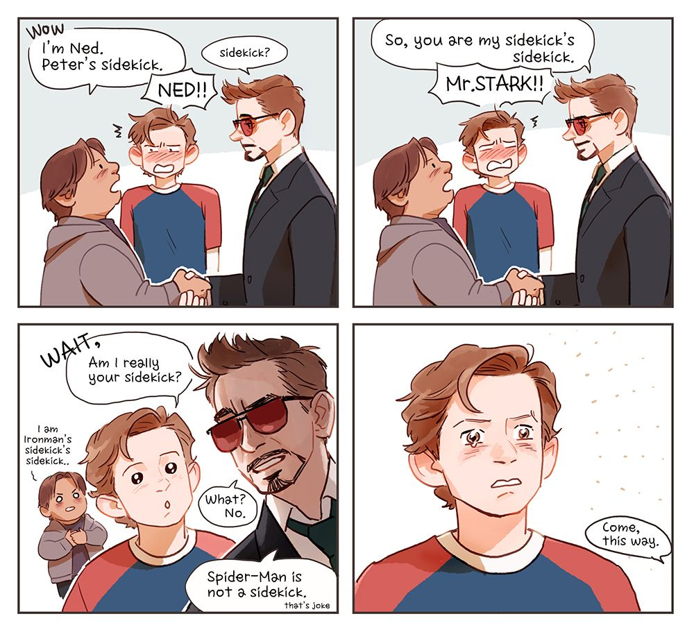 Peter,Ned and Mr Stark by Hallpen | Marvel | Bohaterowie