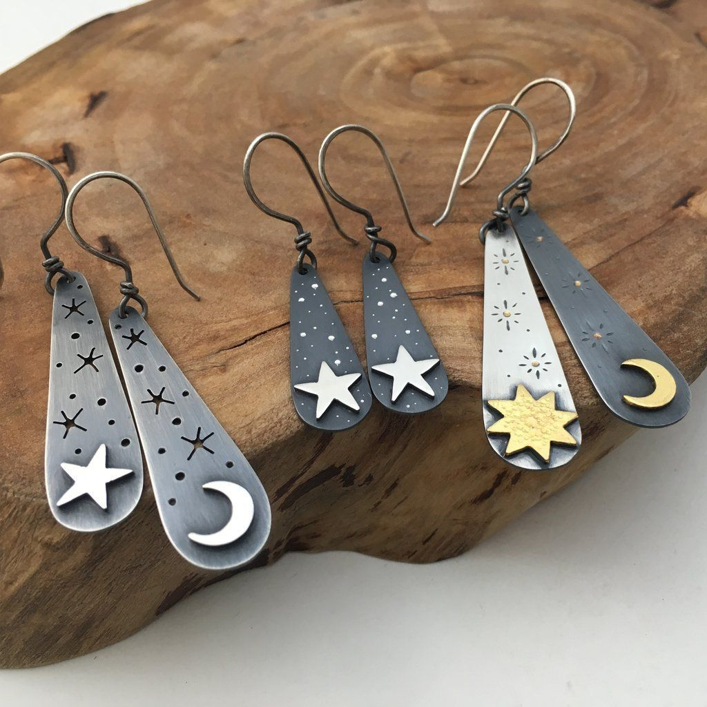 Starry Night Earrings is part of Handmade jewelry, Gold jewelry earrings, Handmade gold jewellery, Jewelry inspiration, Metal jewelry, Metalsmithing jewelry - 4 inch (45mm) long, making them perfect for everyday wear   Last image shows a collection, but this listing is onl