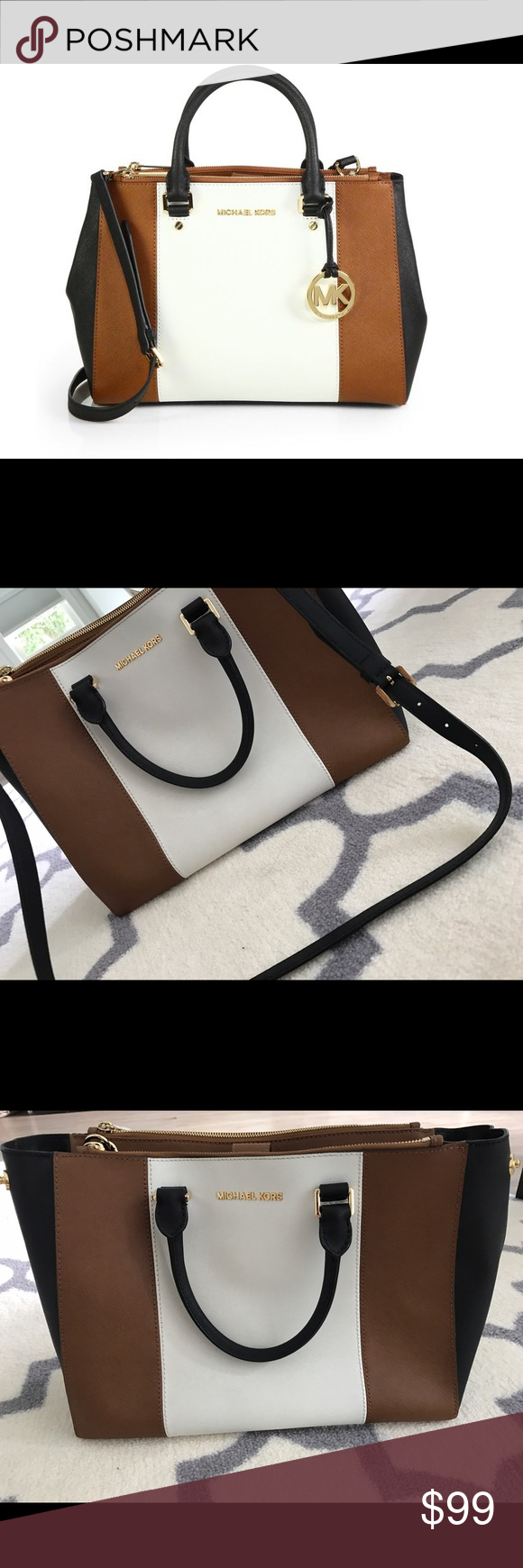 Michael Kors Bag With handles and over the shoulder. The pic on preview is from official seller, after are mine. You can make an offer Michael Kors Bags Totes
