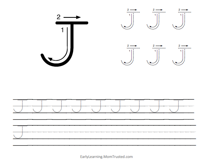 Tracing Letter J  Frodofullringco Tracing Letters Category Preschool Activities And
