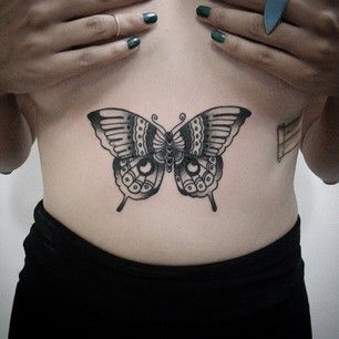 8b00ffad2b22a A butterfly on your stomach. | 49 Bloody Brilliant Black & Grey Tattoo Ideas