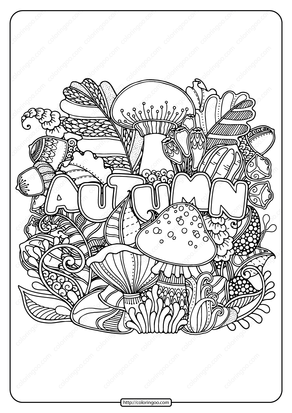 Printable Autumn Pdf Coloring Page Book in 2020 Fall
