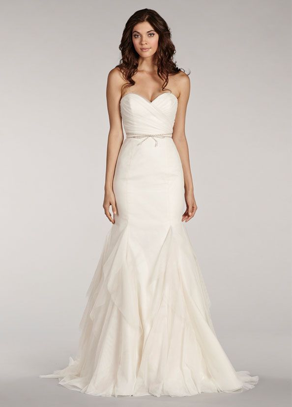 Ivory fit to flare english net gown with sweetheart ruched bodice ... c7326b00a016