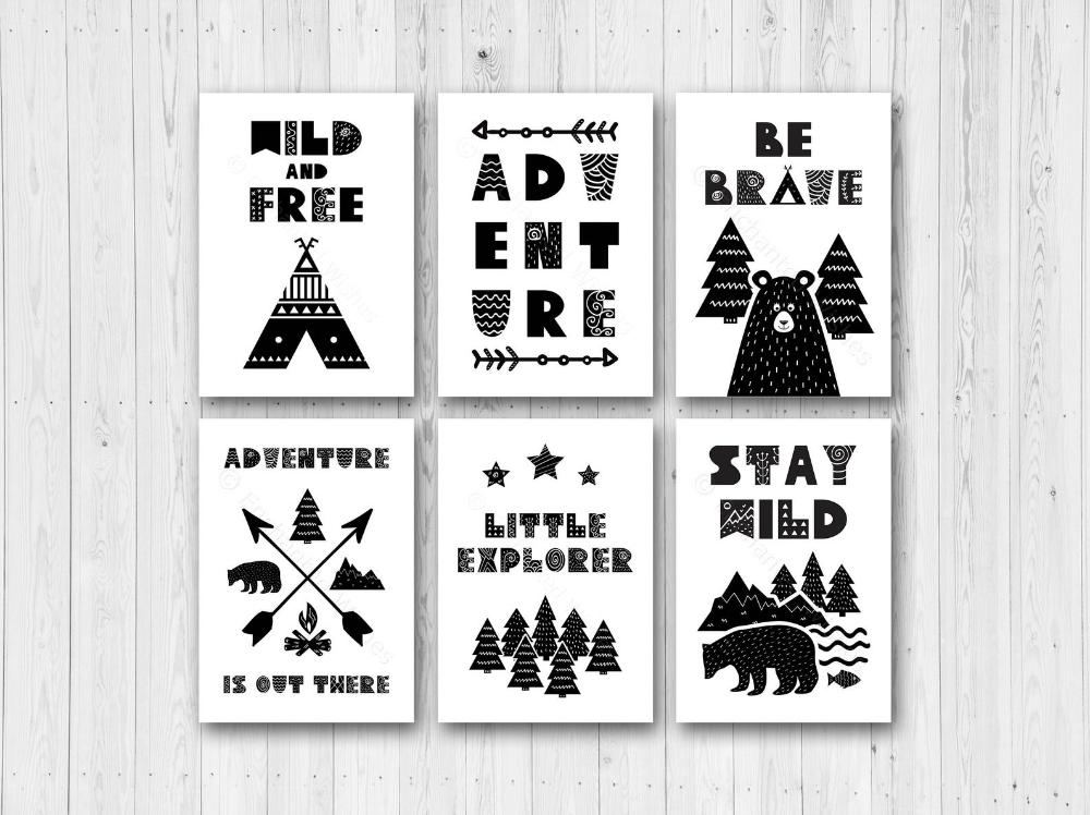 4 Modern Nursery Prints Bear Teepee Arrows Adventure Black /& White Wall Art
