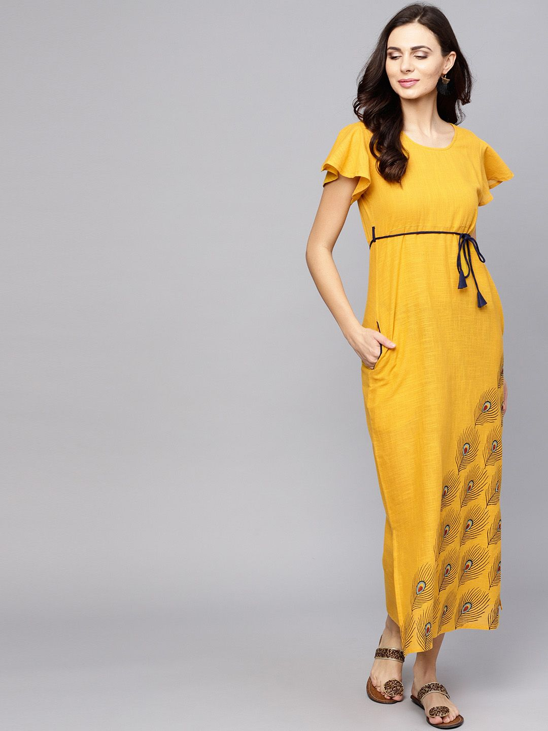 343ef09d43c2 I love this AKS Women Mustard Yellow Solid Maxi Dress - Dresses for Women  7702707
