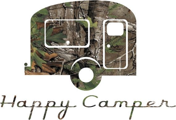 A Camo Happy Campers Sticker decal by stickherlady on Etsy