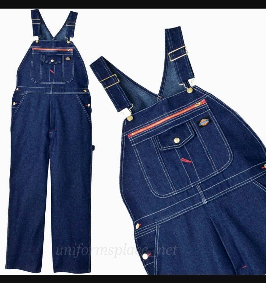 Mens Dickies Bib Overalls Indigo Blue Denim Zipper Pocket 100