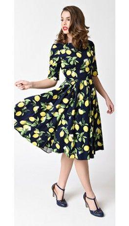 74aff9240b7 The Pretty Dress Company Navy Blue   Lemon Hepburn Swing Dress ...