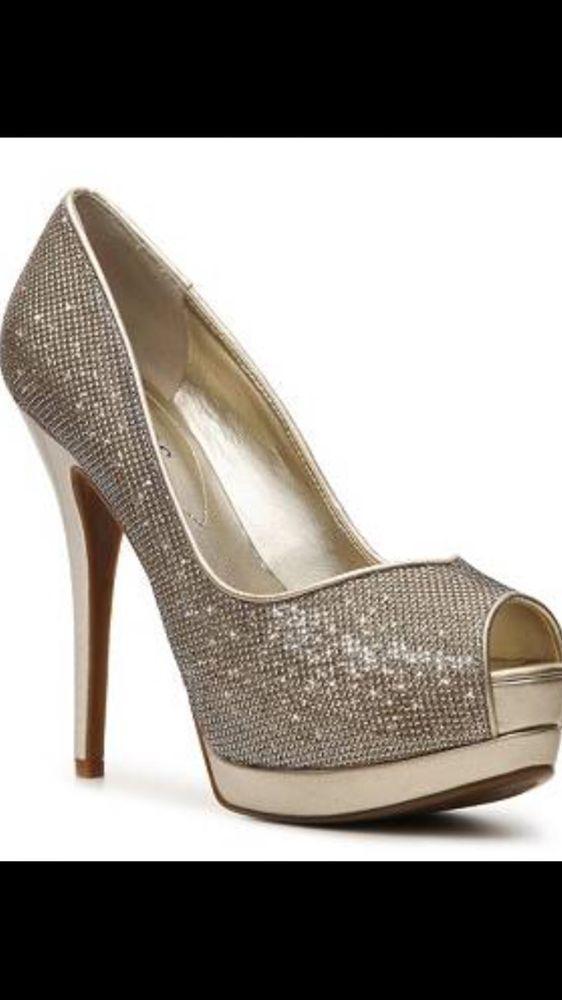f79538b0509 Guess Collins Platform Peep Toe Sparkle Gold Pumps Shoes Women s Size 8.5  NWB  GUESS