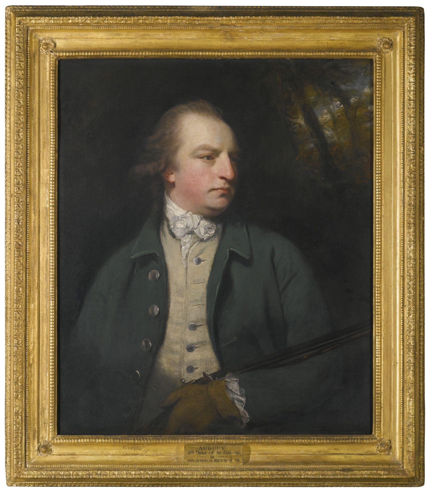 Sir Joshua Reynolds, P.R.A. PLYMPTON, DEVON 1723 - 1792 LONDON PORTRAIT OF AUBREY BEAUCLERK, 5TH DUKE OF ST. ALBANS (1740 - 1802), HALF LENGTH, WEARING A GREEN COAT AND HOLDING A FLINTLOCK oil on canvas.