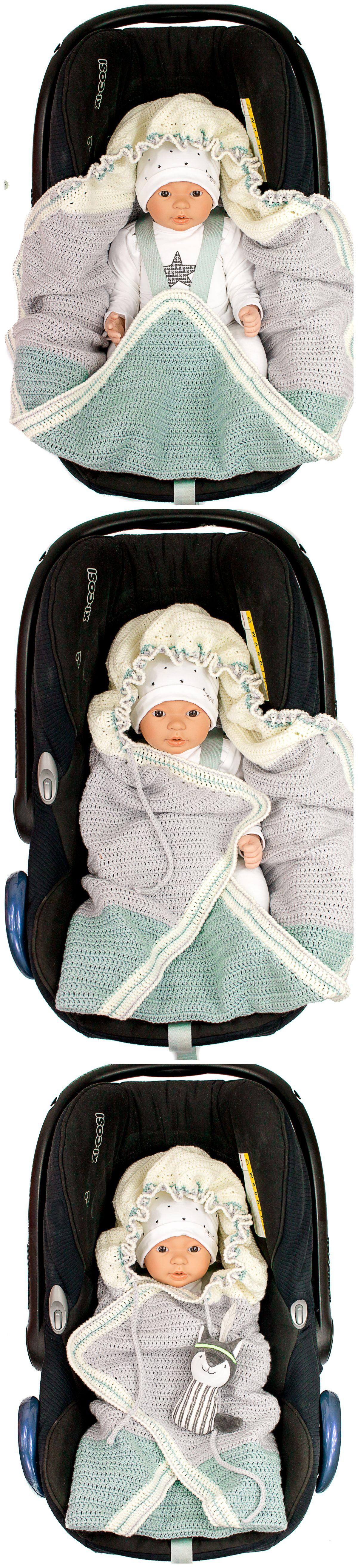 DIY-Anleitung: Babydecke häkeln mit praktischen Gurtschlitzen für ...