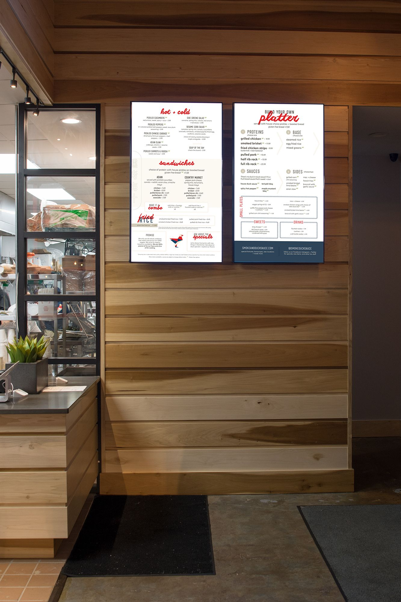 Digital menu board design and interiors for Smoke & Duck Sauce in