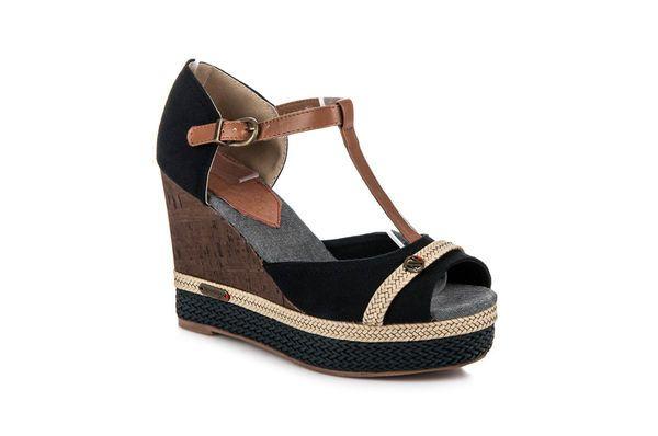 Sandaly Damskie Newage Brazowe Czarne Letnie Buty Na Koturnie New Age Shoes Wedges Fashion