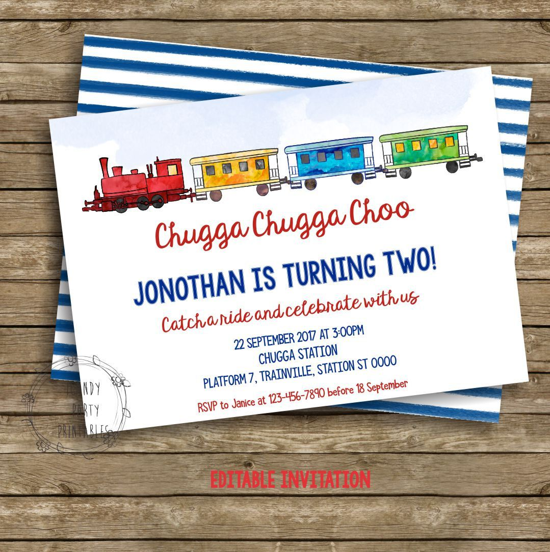 Train Birthday Invitation Party Printable Choo Editable Instant Download By ICandyPartyPrintable
