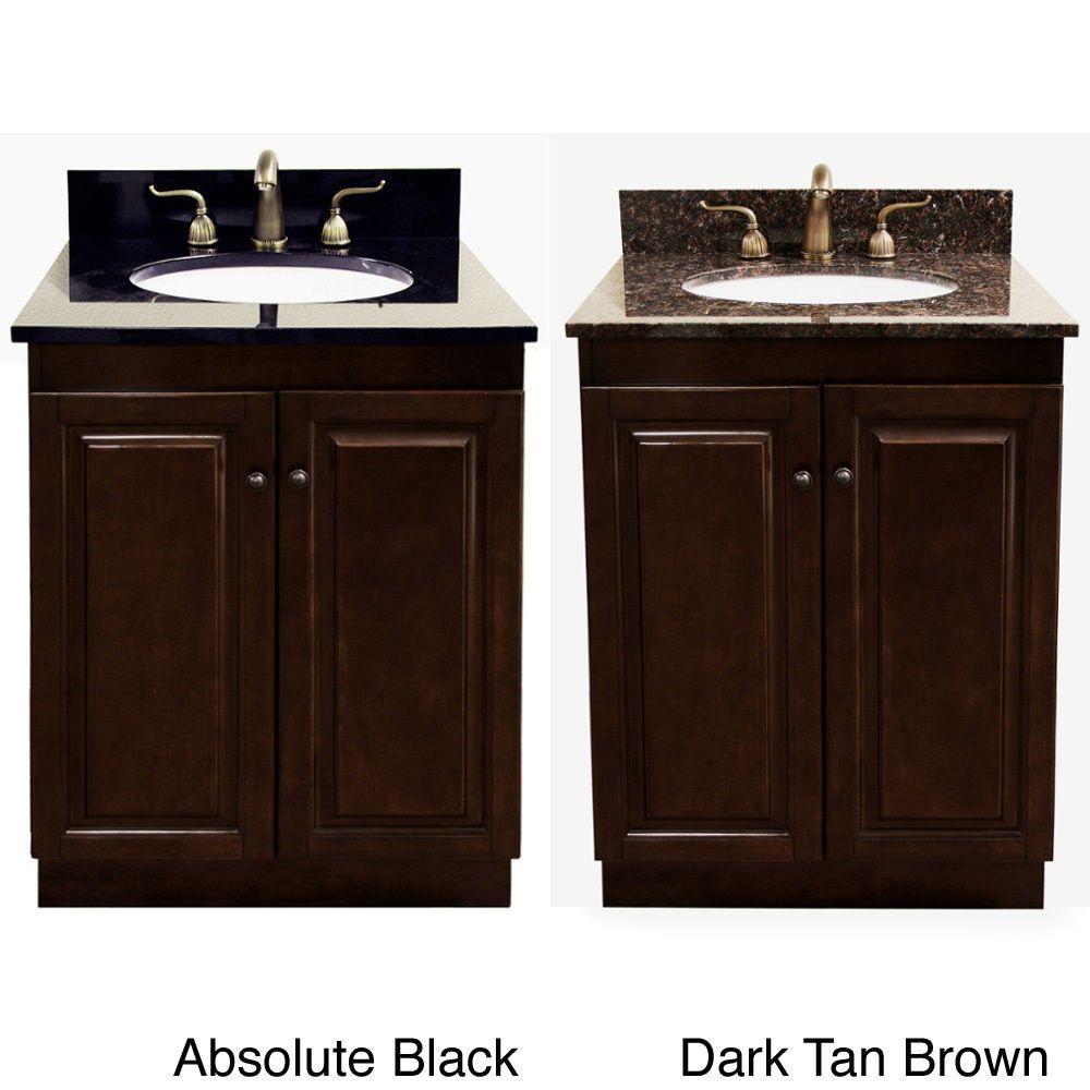 Dark Walnut Natural Granite Top 24 Inch Single Sink Bathroom
