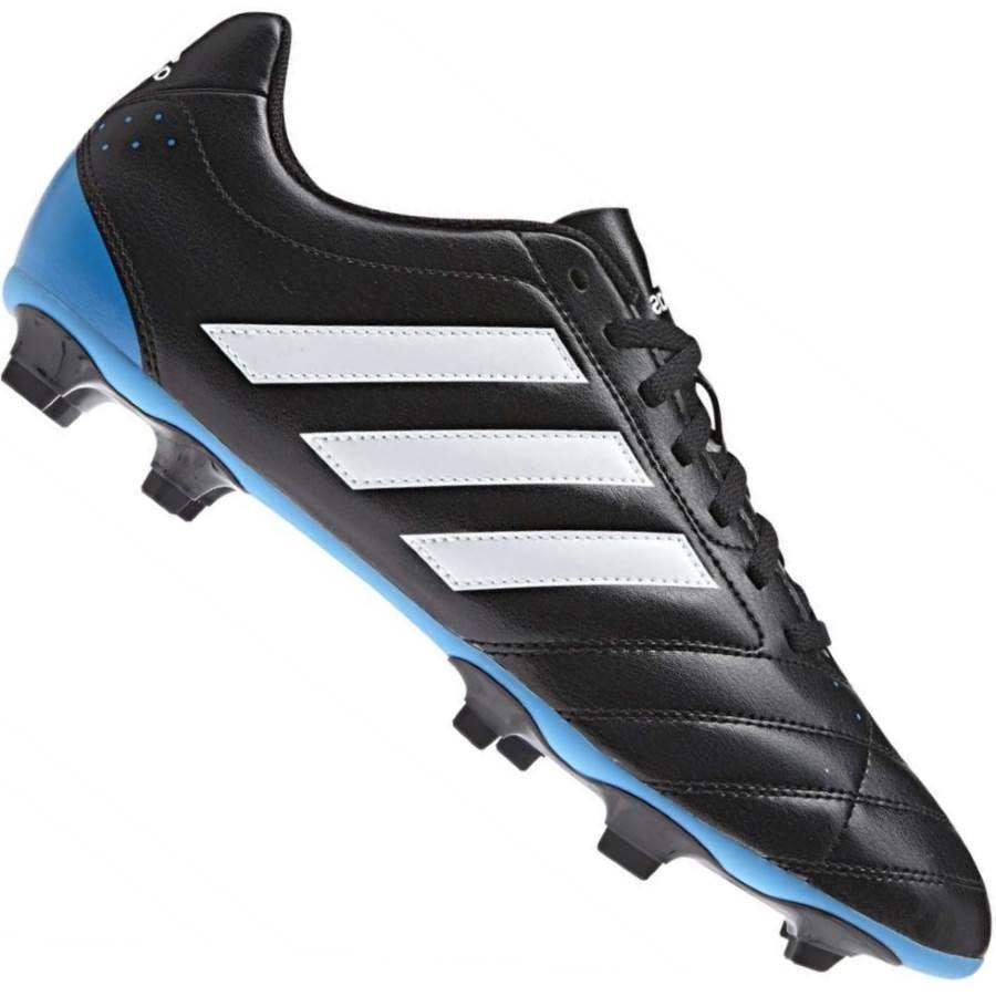 Chuteira Adidas Goletto V FG Campo Preta   Azul  c6db8c36cb05a