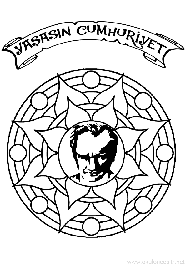 29 Ekim Cumhuriyet Bayrami Etkinlik Kalibi Boyama Sayfalari