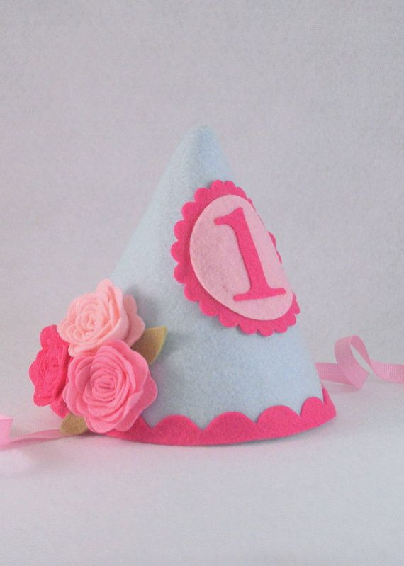 Felt Party Hat First Birthday Girl Party Hat Smash Cake Pink