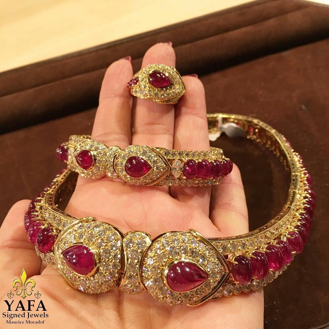 By #GraffDiamonds, a Burma ruby and diamond suite that includes a necklace, bracelet, ring, and earrings.  #YafaSignedJewels
