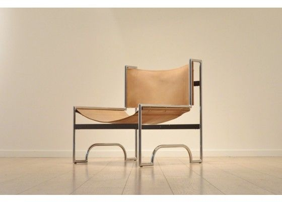Vintage Cognac Sling Leather U0026 Chrome Easy Chair For Sale At Pamono