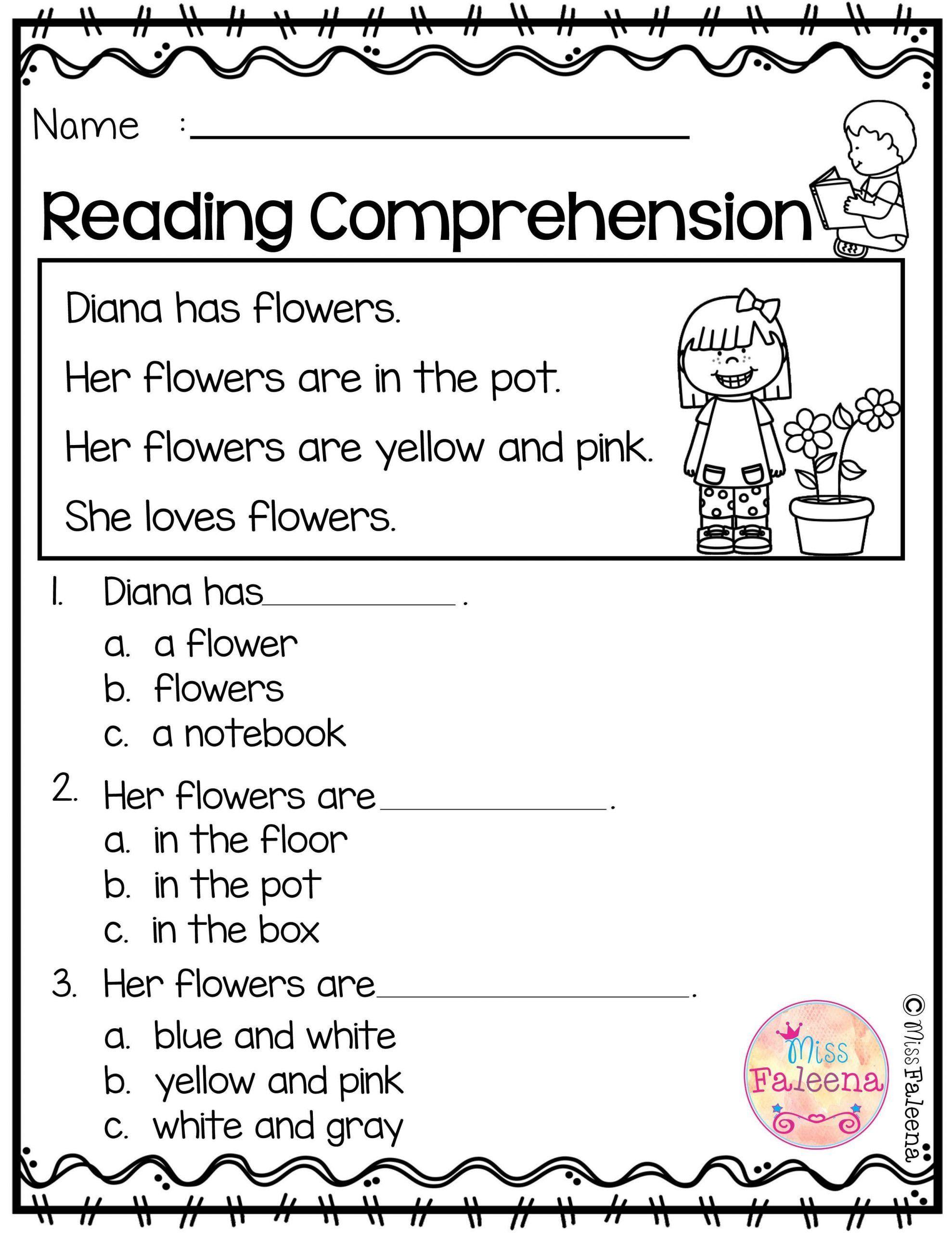 Kindergarten Worksheets Reading Comprehension Reading