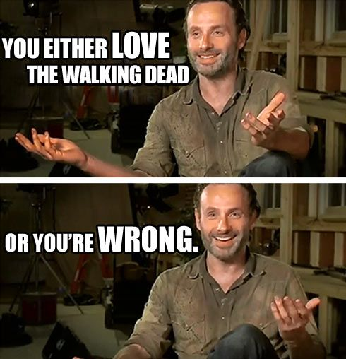 You either love it… | Zombie ... | Walking dead memes ...