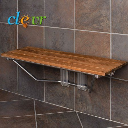 Clevr 36 inch Wall Mounted Double Folding Shower Bench Seat Teak ...