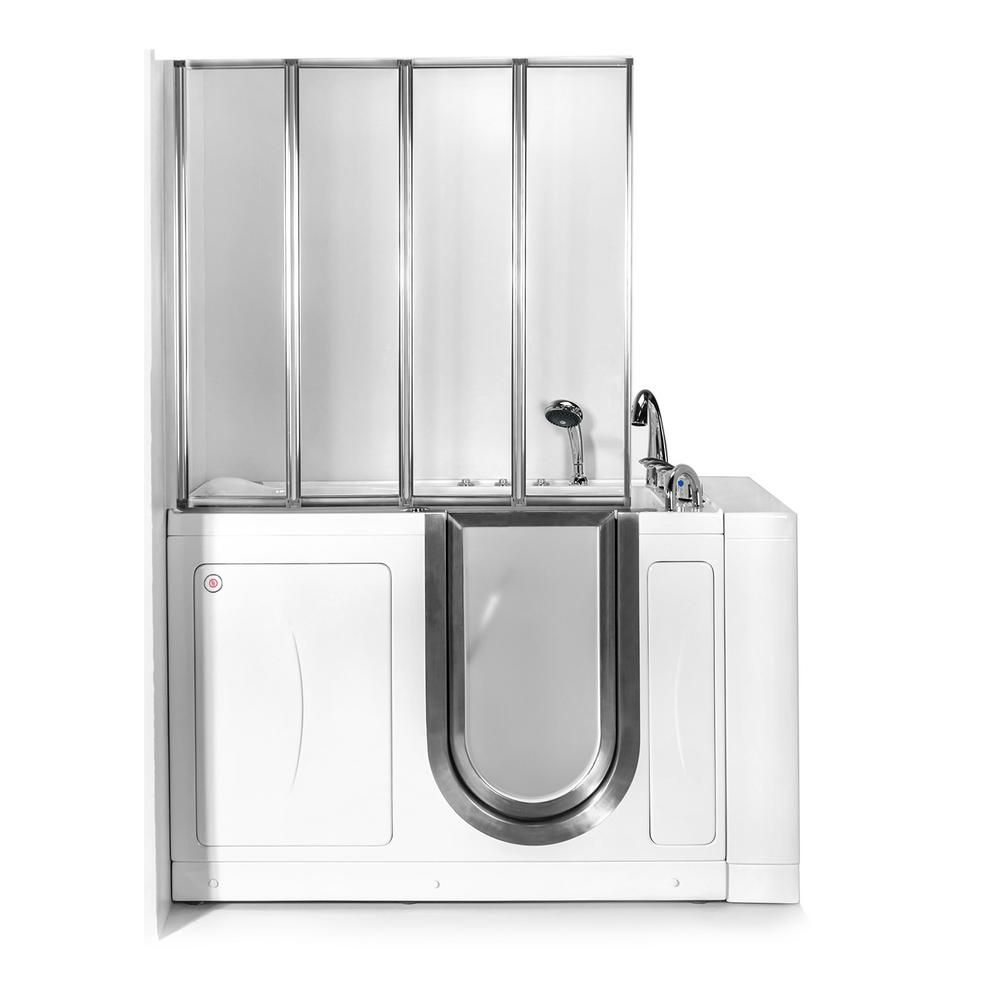 Ella 52 In Walk In Whirlpool And Air Bath Bathtub In White With
