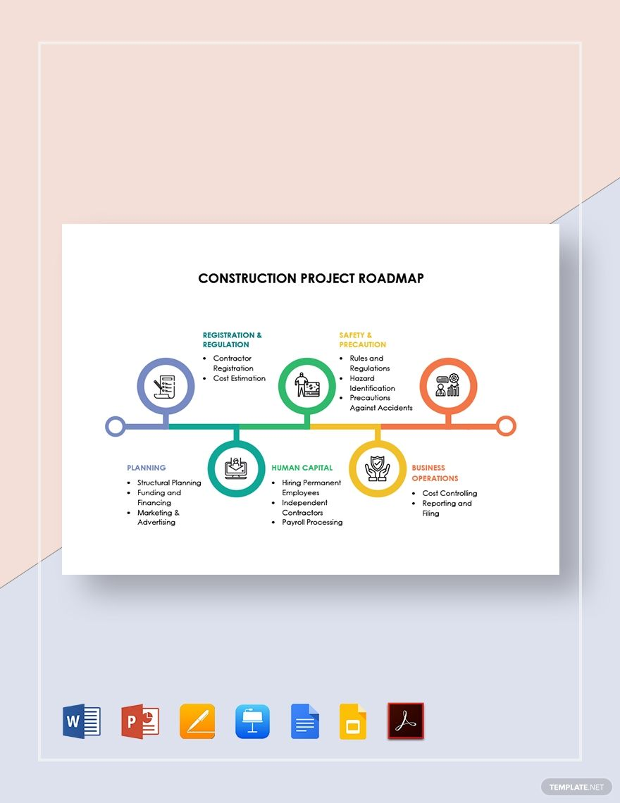 Construction Project Roadmap Template Free Pdf Google Docs Google Slides Apple Keynote Powerpoint Word Apple Pages Template Net Roadmap Roadmap Infographic Projects