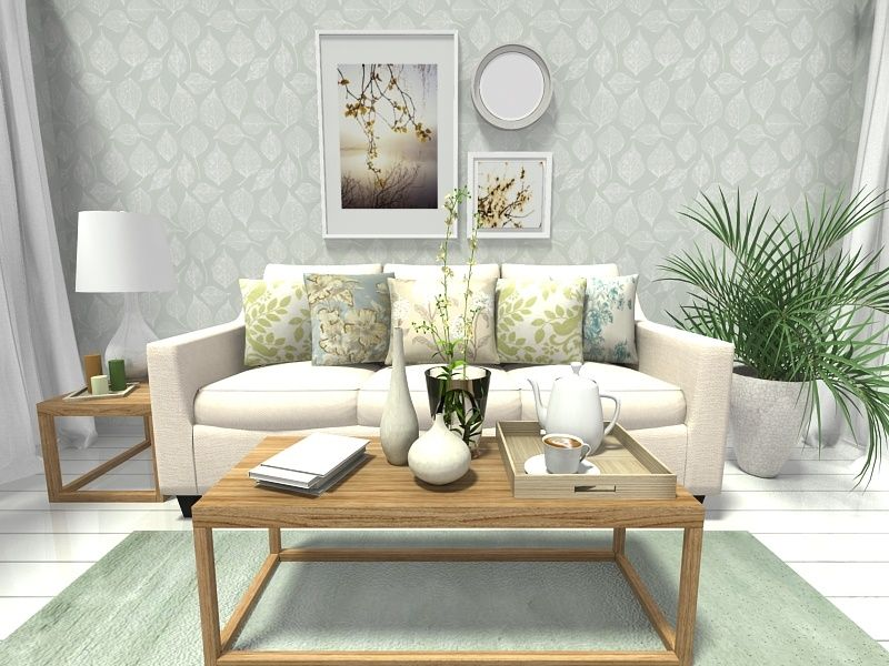 Wallpaper Living Room Ideas For Decorating. Spring Decorating Ideas  Living room design with leaf print wallpaper and home decor