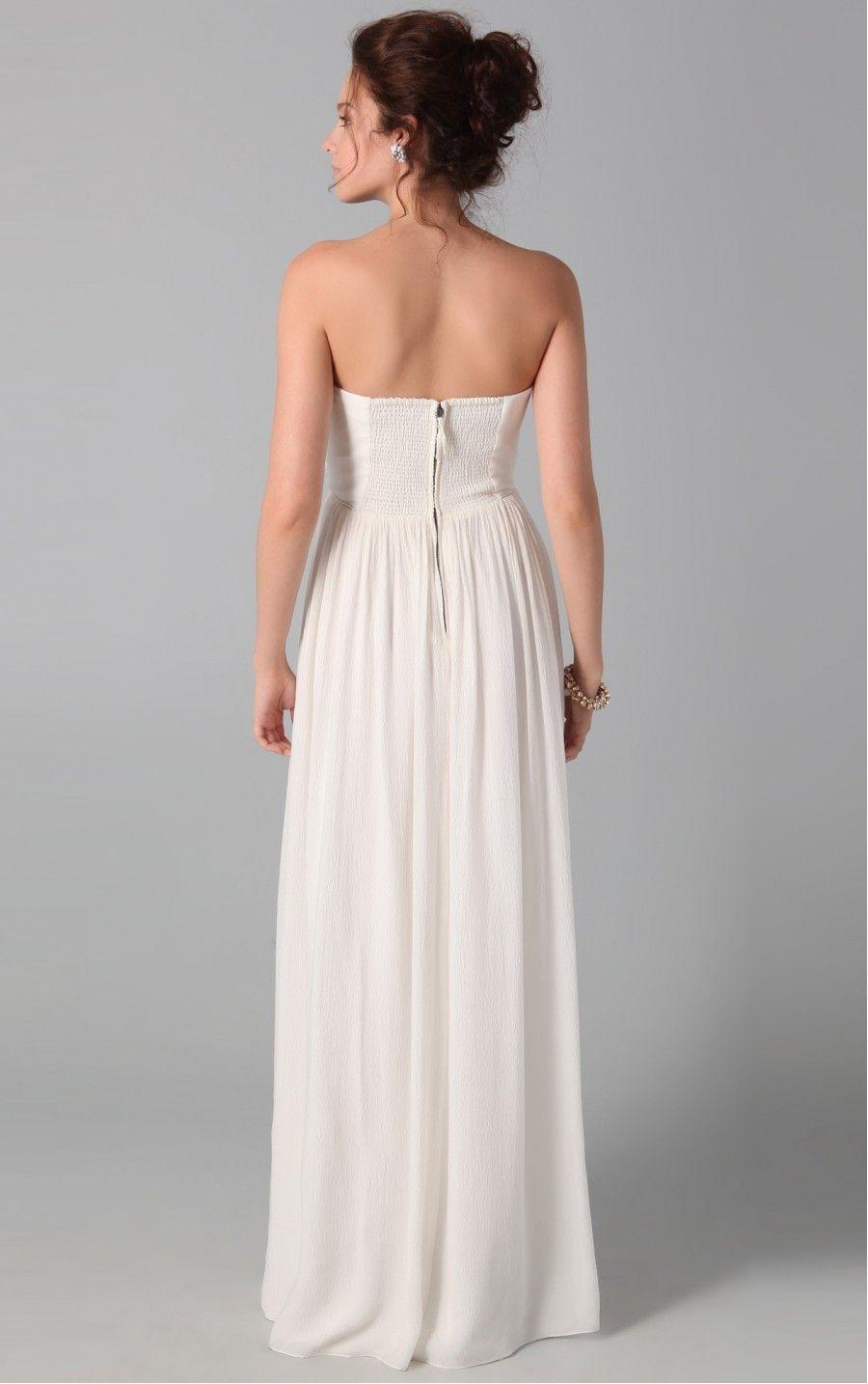 Amazing white sheath floorlength strapless dress bröllop gäst