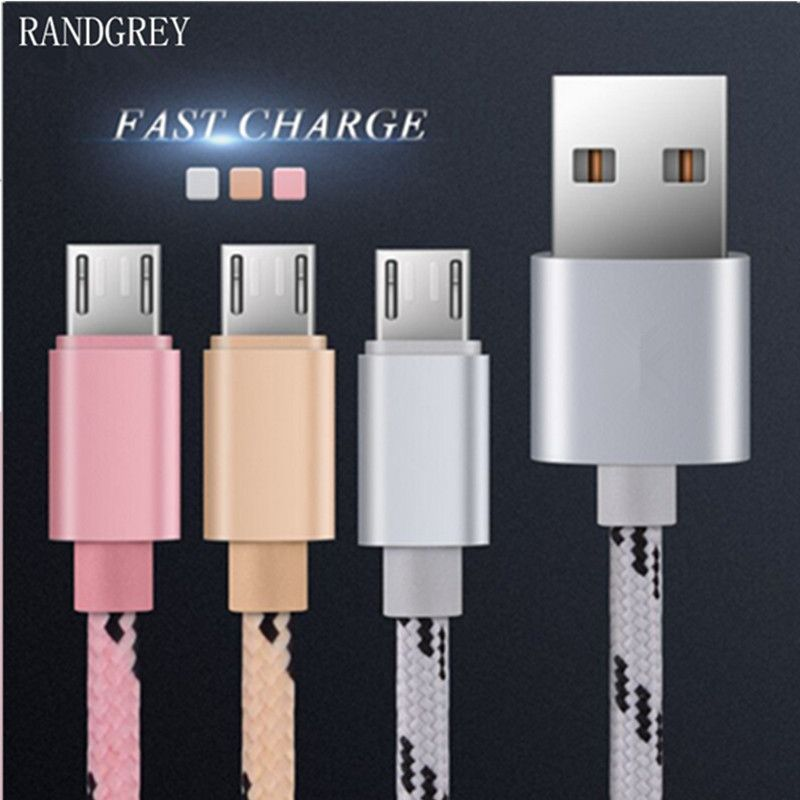 Randgrey Micro Usb Cable Snelle Lading Mobiele Telefoon Andriod Kabel Adapter Microusb Cabel Voor Samsung Xiaomi Huaw Mobile Phone Micro Usb Cable Phone Cables