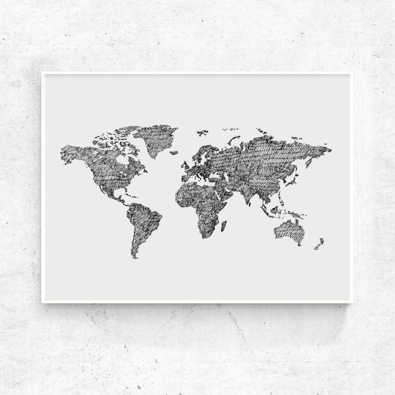 Map Art Print Printable World Map Large Print Black And Grey - 24x36 world map