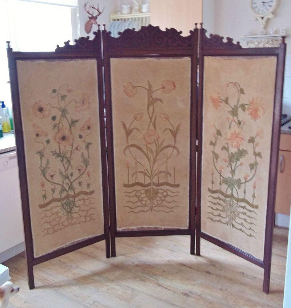 Antique Large Hardwood 3 Panel Bedroom Screen / Room Divider, Floral  Tapestry