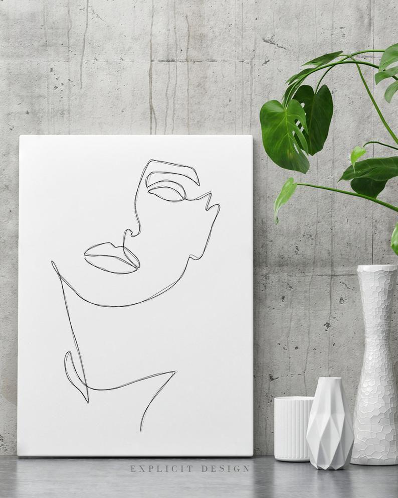 Abstract oneline feminine face printable minimalist
