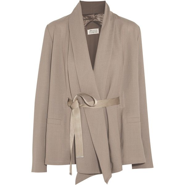 Maison Margiela Belted wool jacket (700 CAD) ❤ liked on Polyvore featuring outerwear, jackets, mushroom, woolen jacket, brown jacket, maison margiela, belted wool jacket and belted jacket