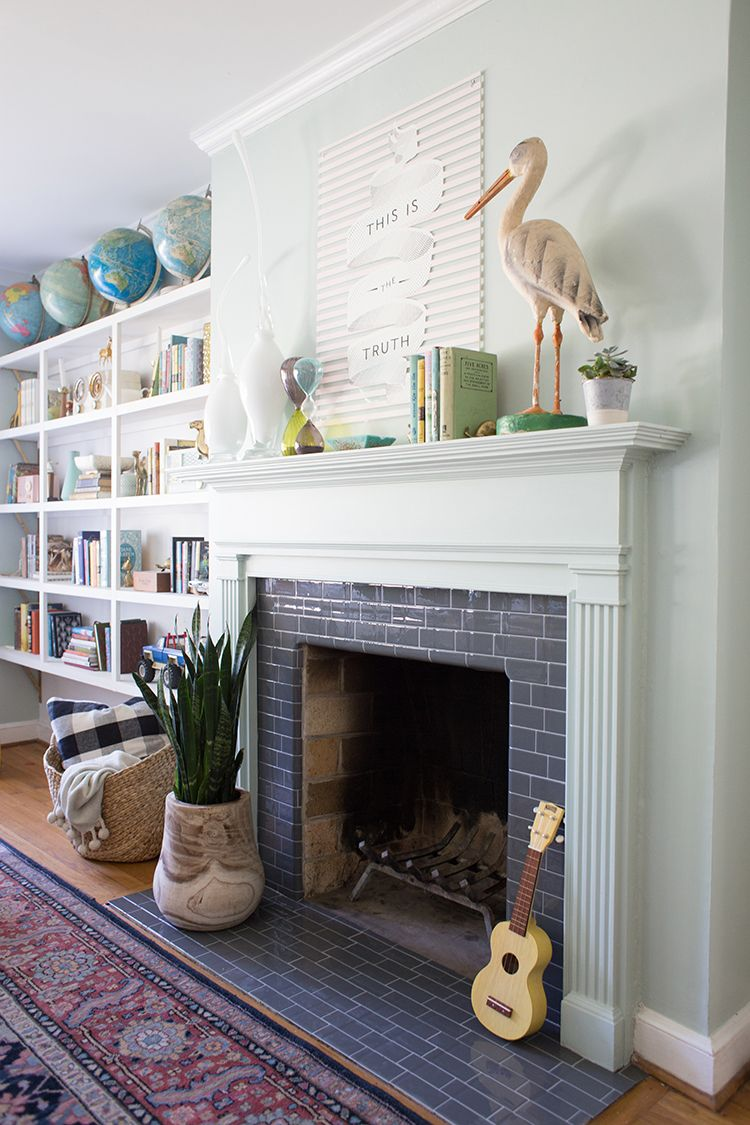 DIY Fireplace Makeover Tiled fireplace, Stone tiles and
