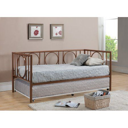 Twin Size Copper Metal Day Bed Frame With White Pop Up High Riser Trundle Headboard Footboard Rail Day Bed Frame Bed Frame And Headboard Daybed With Trundle