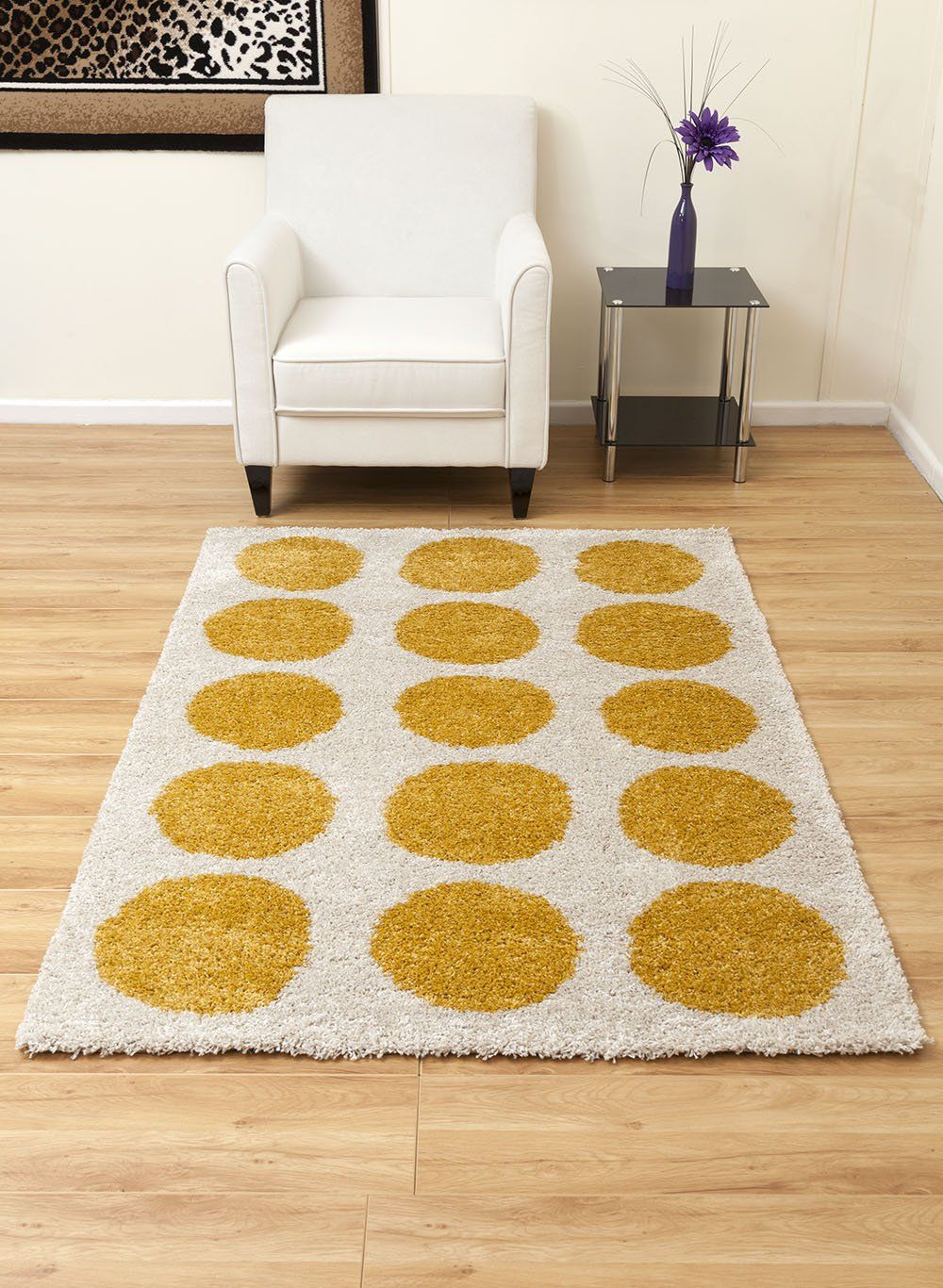 Abacus-Modern Thick Rug with Dot Pattern-Beige with Mustard Dots ...