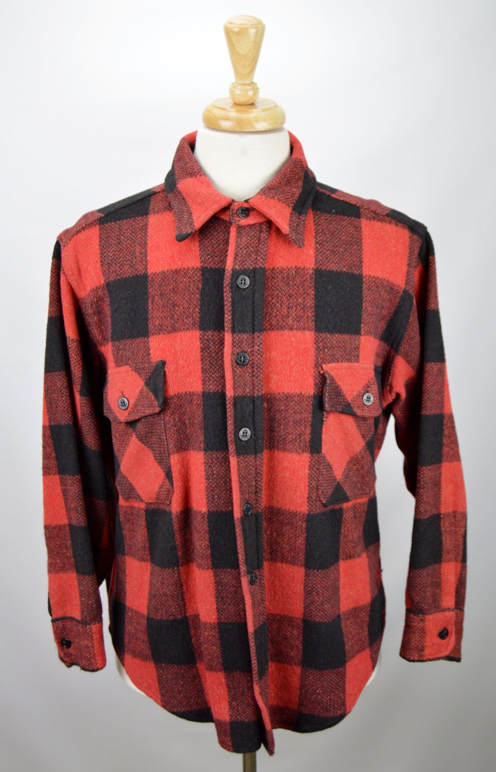 Red plaid flannel jacket  Vintage Peters Whaler Menus Large Buffalo Plaid Red Black Wool