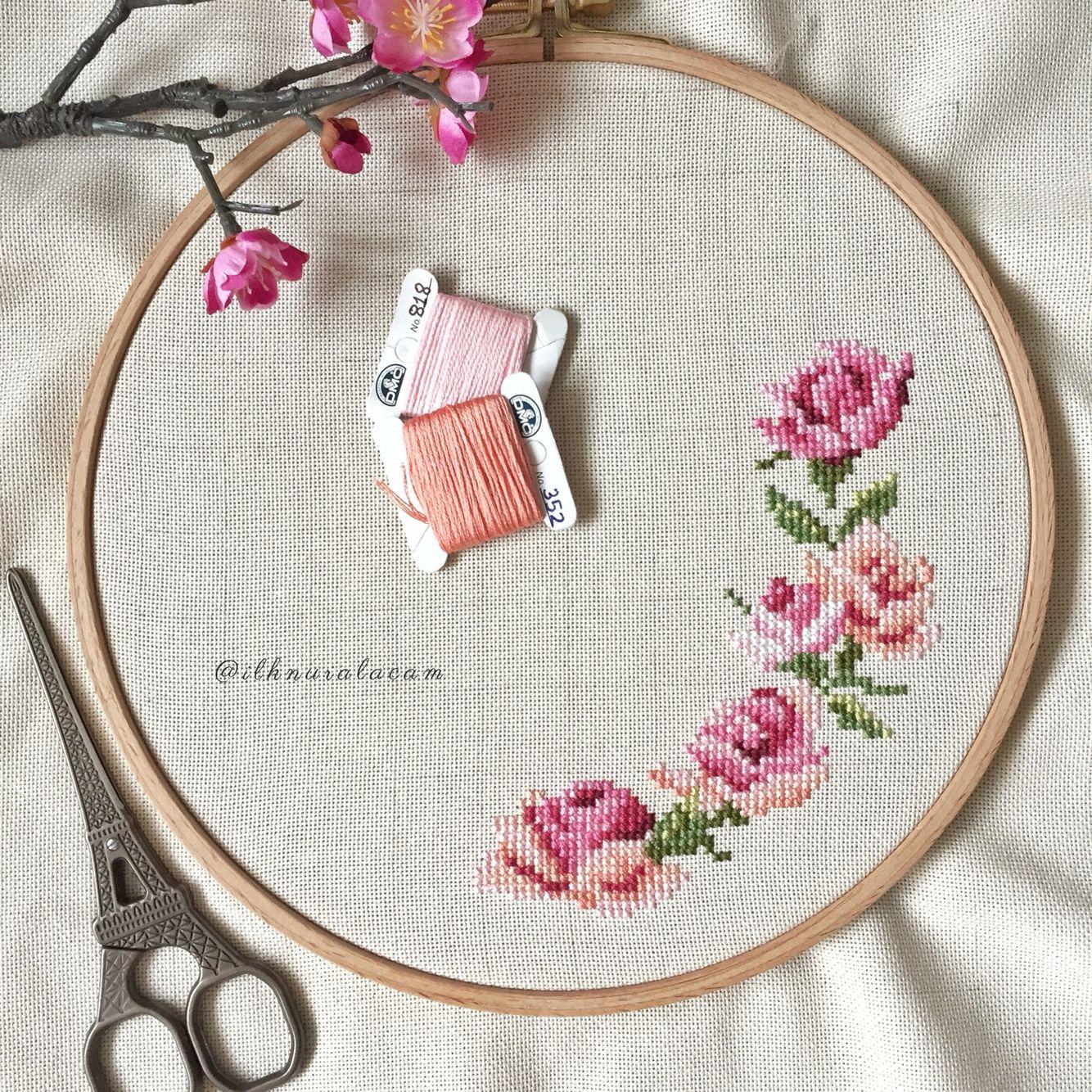 Cross stitch rose etaminler pinterest