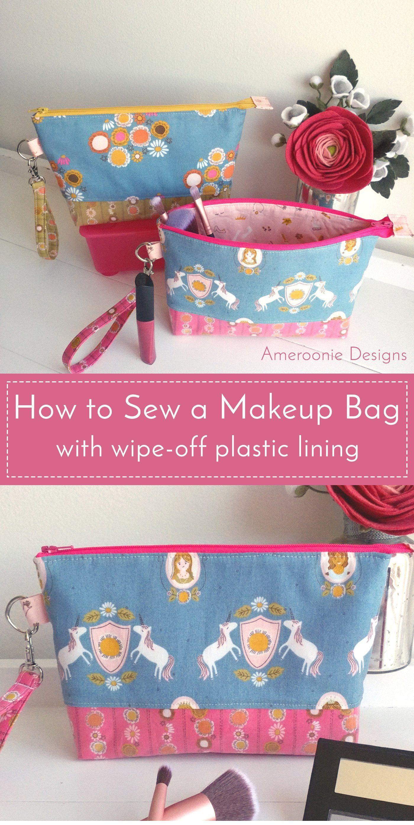 DIY Makeup Bag with Vinyl Lining Diy makeup bag, Diy